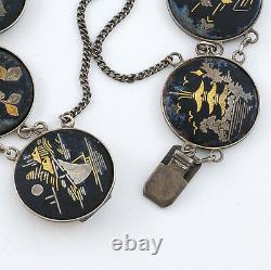 1930s Handcrafted Vintage Japanese Sterling and Mix Metal Art Work Bracelet 7 L