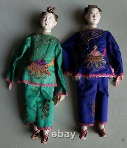 2 Fine Antique Carved Wood Jointed Japanese Opera Dolls in Silk Clothes