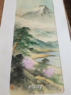 3 Antique Signed japanese fine art oriental Watercolours Silk Panels mount fuji