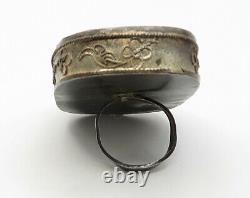 925 Silver Antique Japanese Geisha Painting Large Royal Ring Sz 6 R4775