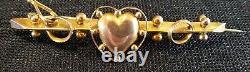 9 carat solid gold vintage Victorian antique sweetheart brooch