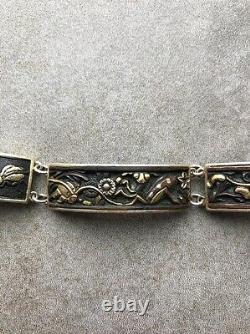 A Fine Taisho Era Gilt Silver Shakudo Decorated Japanese Bracelet