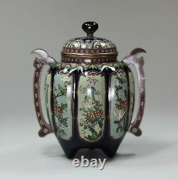 A fine silver-wired Japanese cloisonné eight-lobed twin-handled koro and cover