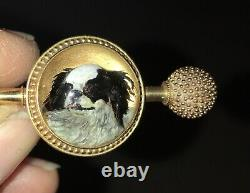 Antique 18ct Gold Essex crystal, Japanese Chin/King Charles Toydog Spaniel Brooch