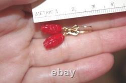 Antique Aka 14k Japanese 8ct Momo Dragon Coral Focal Point Petite Earrings