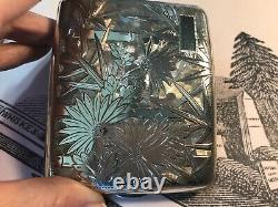 Antique Asian Japanese Fine Silver. 950 Cigarette Case Sterling Flowers Bamboo