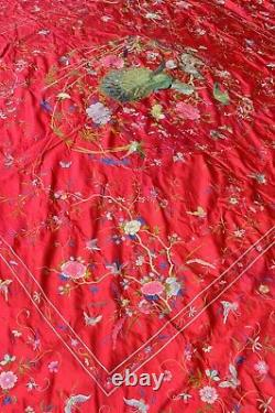 Antique Extremely Fine Japanese/Chinese Silk Embroidery Table/Bed Cloth