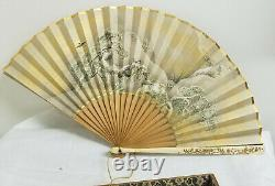 Antique Fine Chinese Japanese Painted Fan Lacquered Ducks Box Signed As Is Repai