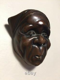Antique, Fine Details, Japanese/Japan Bronze, Netsuke Mask (Mennetsuke)