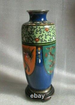 Antique Fine JAPANESE ENAMEL CLOISONNE Meiji Era Vase HO HO Phoenix Dragon