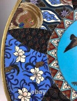 Antique Fine Japanese Cloisonné Plate with Floral Pattern Meiji Era, 19C