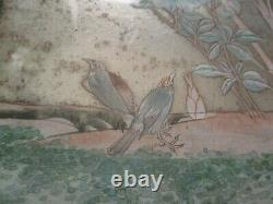 Antique Fine Old Chinese Or Japanese Painting Floral Landscape Birds Unusual Old