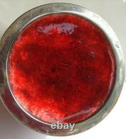 Antique Japanese Cloisonne Red Ginbari Fine Silver Wire Bamboo Bird Plum Signed