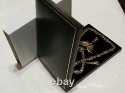 Antique Japanese KOMAI SHAKUDO Damascene BUTTERFLY 19 Necklace in Gift Box