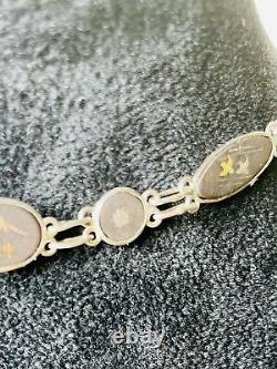 Antique Japanese Komai Shakudo Ware Damascene Silver & 24 Carat Gold Inlay 20