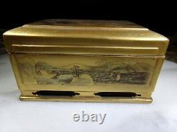 Antique Japanese Lacquerware Box Finely Hand Painted. Signed on Base
