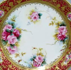 Antique Japanese Nippon Noritake Plate Hand Painted Flowers Fine Gilded