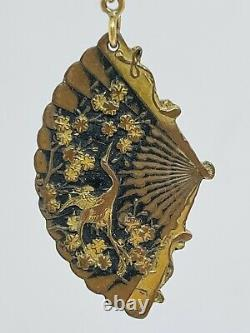 Antique Japanese Shakudo 14k Gold Mixed Metal Crane Floral Fan Dangle Earrings