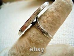Antique Japanese Shakudo Kashira Sword Ring Flower Cricket  Ring, Size 6