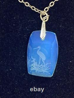 Antique Japanese Silver Intaglio Heron Opaline Crystal Glass Pendant Necklace