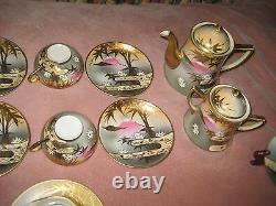 Antique Japanese Tea Set with Mt. Fuji Mark, Fine Porcelain