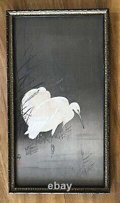 Antique Japanese Woodblock print Cranes original signed framed Japan fine art