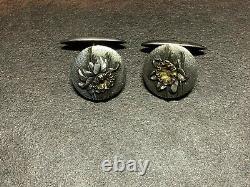 Antique, Meiji, Japanese, Cufflinks, Sterling Silver, Floral Design Hallmarked