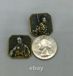 Antique Meiji Japanese Shakudo Brooch Pins Geisha Samurai Mixed Metal Signed