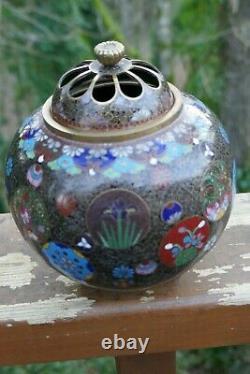 Antique Meiji Period Japanese Cloisonné incense burner 4.5 Tall very fine work