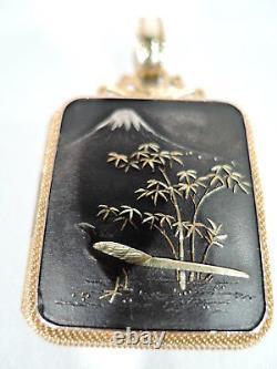 Antique Necklace Meiji Mount Fuji & Peacock Locket Pendant Japanese Shakudo