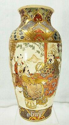 Antique Pair Japanese Satsuma Vases with Samurai Warriors Finely Painted