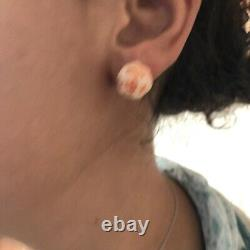 Antique Vintage 14K Japanese Carved Angel Skin Coral Peony Flower Earrings