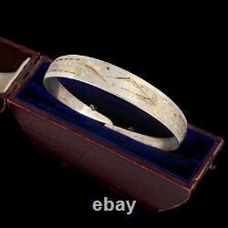 Antique Vintage Art Deco Sterling Silver Japanese Mt Fuji Chased Bangle Bracelet
