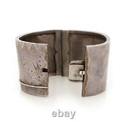Antique Vintage Art Nouveau Sterling Silver Japanese HUGE 1.45 W Cuff Bracelet