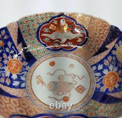 Antique Vintage Fine Japanese Porcelain Large Punch Bowl Fukagawa Enamel