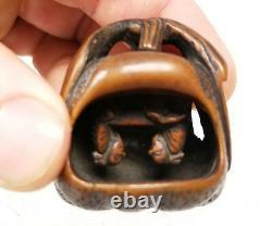 Antique Vintage Finely Carved Boxwood Japanese Nestuke Fruit Nut Go Scholars