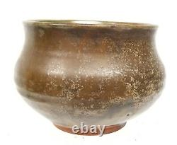 Antique Vintage Japanese Fine art Pottery Bowl Signed Green Tea Dust Glaze
