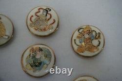 Antique Vintage Japanese Satsuma Buttons 7 Immortal Gods Asian Finely hand paint