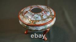 Beautiful Fine Japanese Meiji Period Kutani Hair Gathering Lidded Bowl Signed