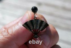 FINE Antique Art DECO Japanese SILVER Onyx & Lacquer Screw Fan EARRINGS Boxed