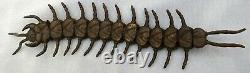 FINE Antique Japanese CENTIPEDE Bronze Engraving Okimono SIGNED Insect