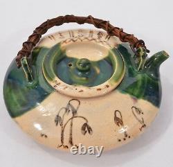 FINE Antique Old JAPANESE Ceramic ORIBE Ware TEAPOT Sake POT Signed LOVELY Form