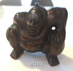 FINE Antique Wooden Japanese SUMO WRESTLER Rikishi Netsuke Okimono SIGNED
