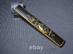 FINE Kyo-GOTO KOZUKA Japanese Edo Samurai Antique Sword fitting HOTEI c686