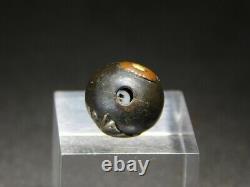 FINE OJIME Bead NETSUKE Butterfly 19thC Japanese Edo Meiji Antique for Inro