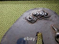 FINE SATSUMA-School Birds TSUBA 18-19thC Japanese Edo Antique for Koshirae