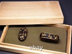 FINE Sigend Rabbits FUCHI/KASHIRA 18-19thC Japanese Edo Antique Koshirae fitting
