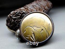 FINE Signed KAGAMIBUTA NETSUKE w INRO 19thC Japanese Edo MEIJI Antique F690