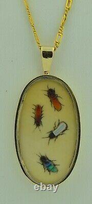 Fabulous Japanese SHIBAYAMA Insect Fly Pendant in 14K