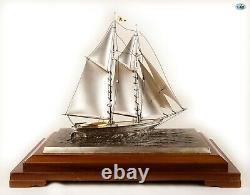 Fine Antique 1930 Stamped Japanese Silver Gilt Sailboat Ship Glass Frame Statue